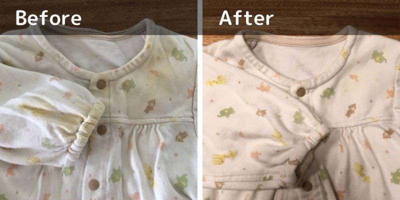【写真比較あり】重曹と酸素系漂白剤でベビー服の頑固な黄ばみを漂白!